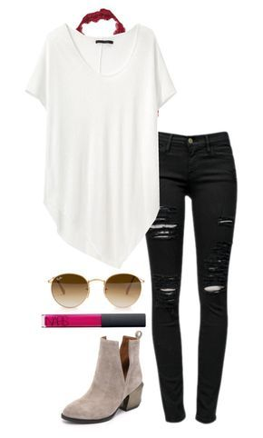 """""""black jeans"""" by helenhudson1 ❤ liked on Polyvore featuring Free People, Frame Denim, rag & bone, Ray-Ban, NARS Cosmetics and Jeffrey Campbell"""