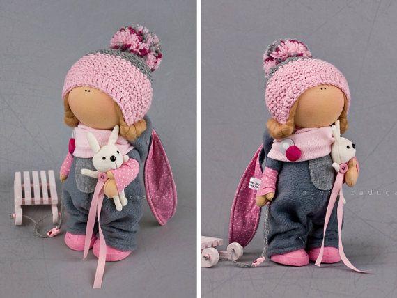 Winter doll Tilda doll Interior doll Textile doll Pink doll Soft doll Fabric doll Cloth doll Decoration doll Unique doll Art doll by Alena R