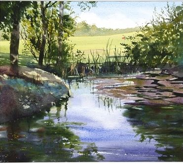 From the Bridge, watercolour, (33x38cm) by Pam Williams. Hornsea Art Society runners-up in Art Club of the Year 2017