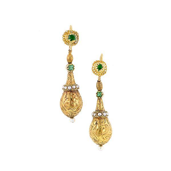 Victorian Emerald Pearl Drop Earrings