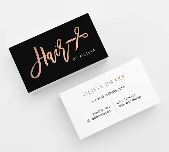 Rose Gold Hair Stylist Business Card 500 Printed Business Cards Custom Card Template With Printing Hair Salon Beauty Business Black Elegant In 2021 Salon Business Cards Hairstylist Business Cards Stylist Business Cards