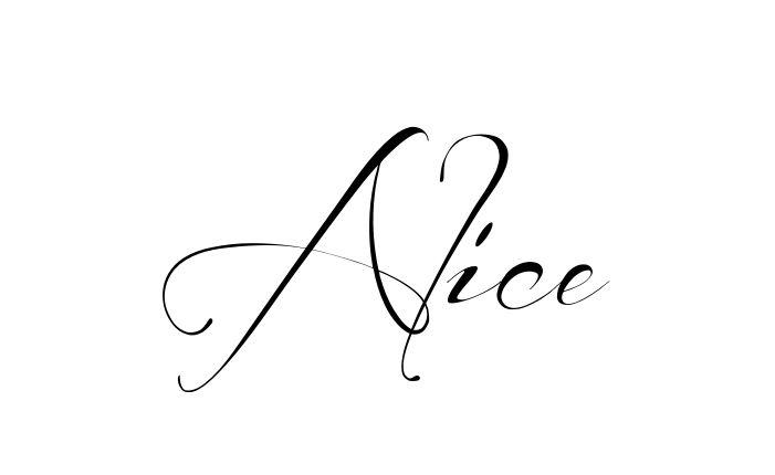 Tatuagem do nome Alice utilizando o estilo Before the Rain Regular