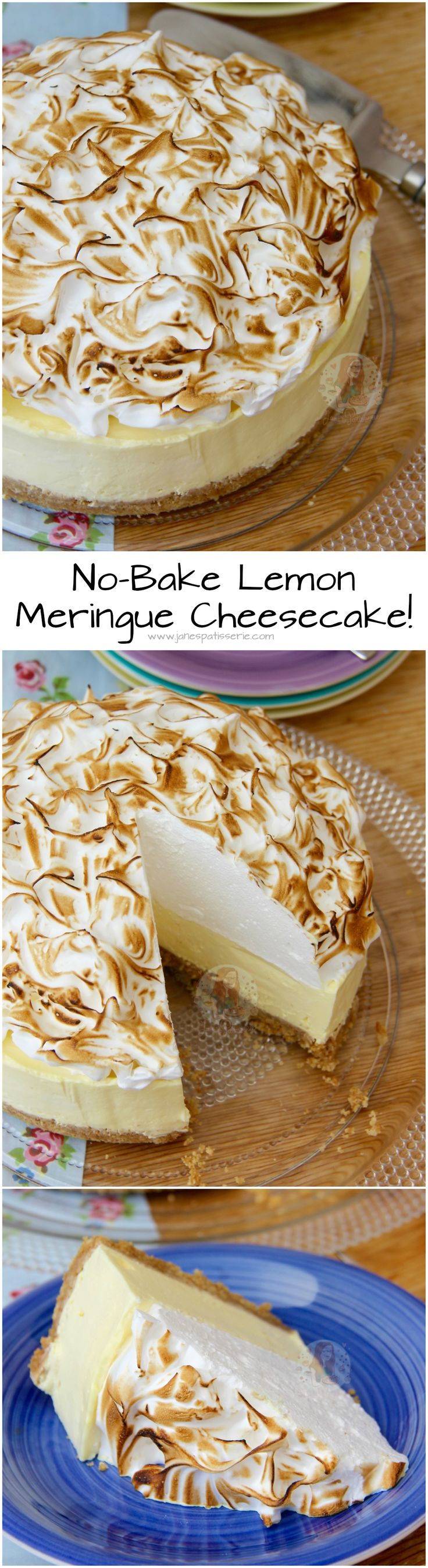 No-Bake Lemon Meringue Cheesecake! ❤️ A Buttery Biscuit Base, Smooth Lemon…