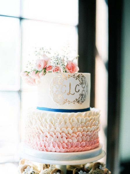 awesome Pièce montée 2017 - Idée de gâteau de mariage élégant + préppy - gâteau de mariage à deux niveaux, fondant ...