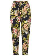 Womens Multi Coloured Tropical Print Tie Trousers- Blue