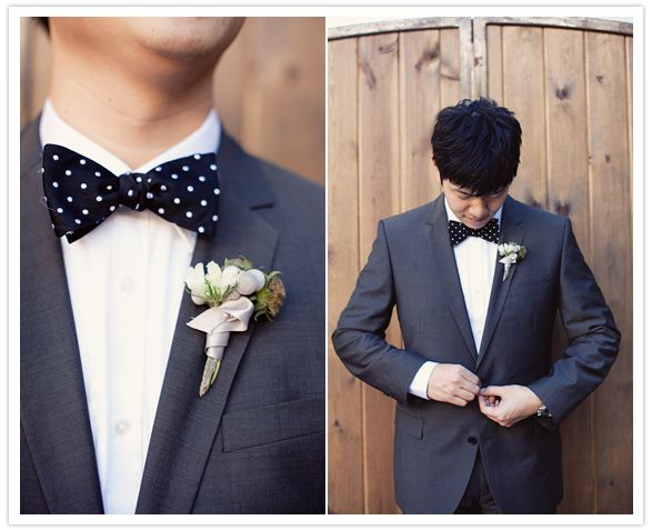 groom's black and white polka dot bow tie