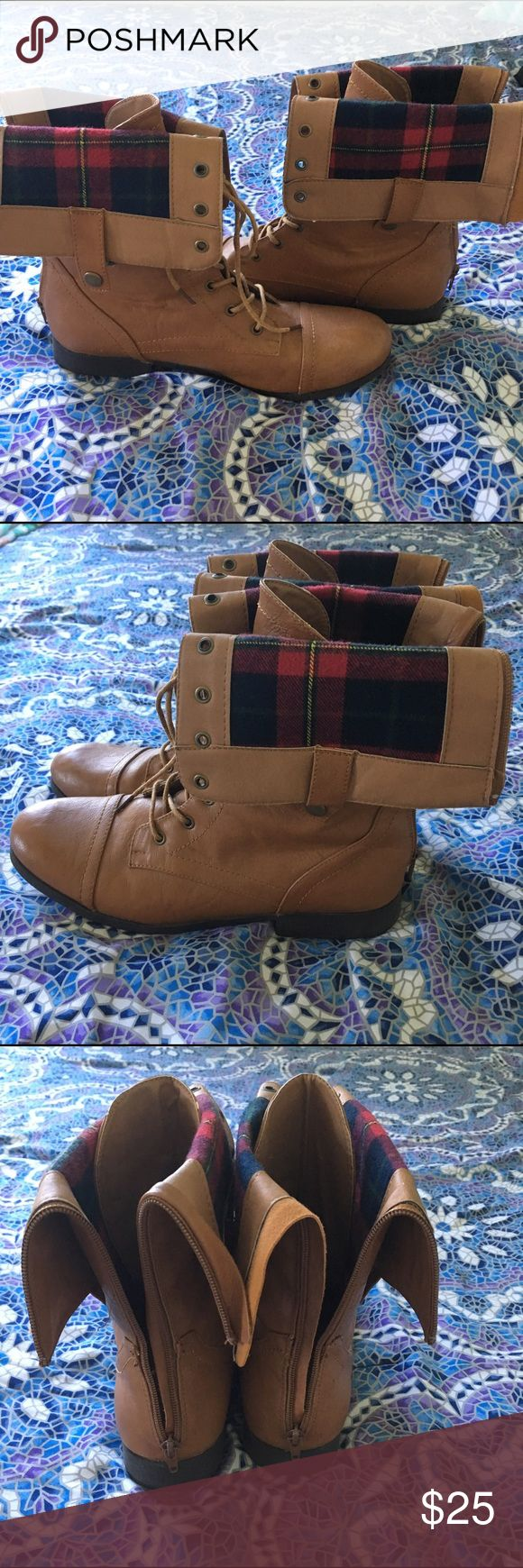 Combat Boots/Flannel inside Worn maybe 6 times. Red/Blue flannel inside. Zipper back. Tilly's Shoes Combat & Moto Boots