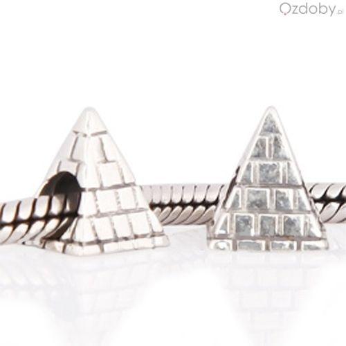 Srebrne koraliki do biżuterii modułowej w kształcie piramidy
