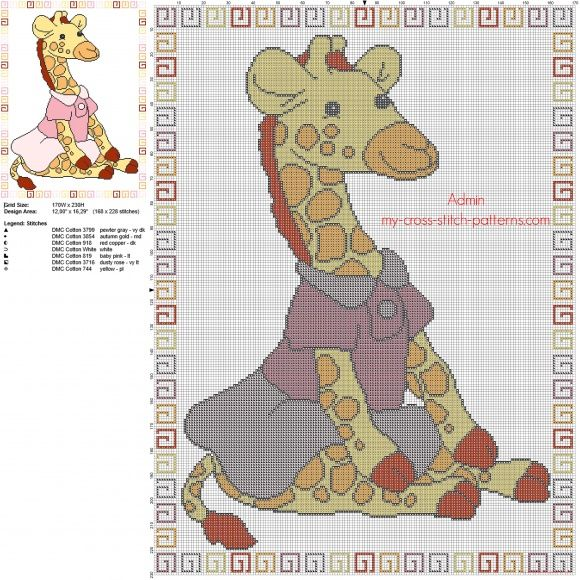 Cross stitch baby blanket with baby giraffe with pink dress free pattern download