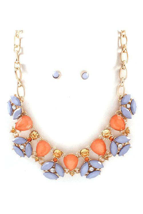 Ashton Necklace in Lavender on Tangerine
