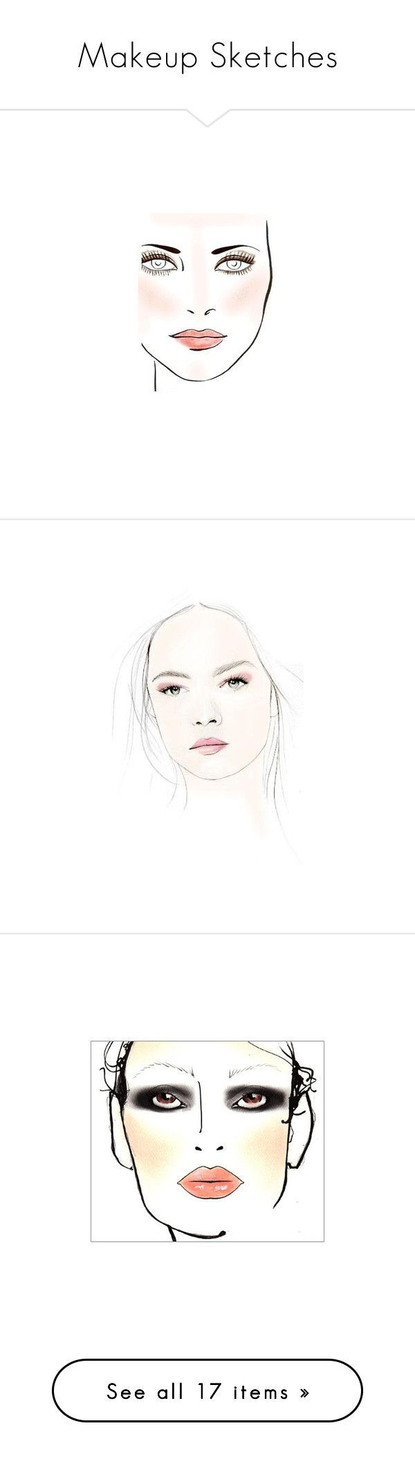 """Makeup Sketches"" by sparklekittygirl ❤ liked on Polyvore featuring backgrounds, drawings, people, sketches, art, mac, sketch, beauty products, makeup and maybelline makeup"