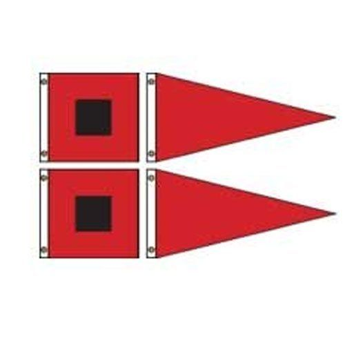 """Superknit Polyester Storm Warning Signal Set 4 by US Flag Store. $36.75. US Made by a Leading Flag Manufacturer. Low Cost Shipping Available!. Canvas Header and Brass Grommets. Superknit Polyester Material. Contains Two Hurricane Flags and Two Gale Pennants. Our Superknit® polyester Storm Warning Signal sets are printed polyester with canvas header and brass grommets. This set contains two 36""""x36"""" hurricane flags and two 36""""x72"""" gale pennants."""