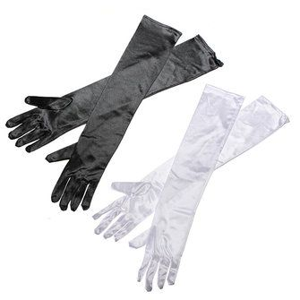 Ladies Silk Fancy Dress Prom Evening Party Long Finger Gloves - US$2.71