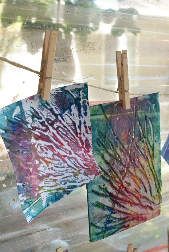 styrofoam printing - could also use cardboard with pieces of string glued on, Lino print etc?!