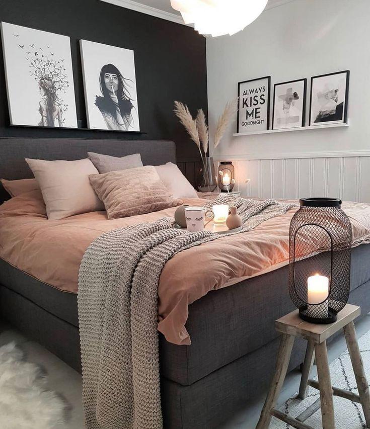 Dark furniture with peach color decor Interior design