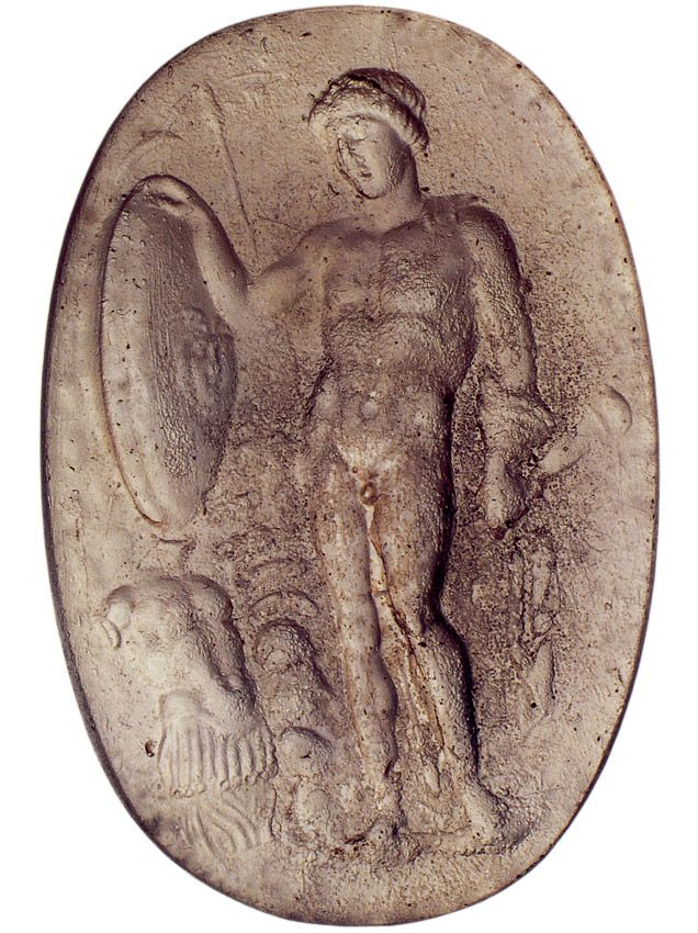 Alexander the Great as Achilles. Intaglio. Glaze. 1st century BCE — 1st century CE. Inv. NoNo. 129432, 158837. Naples, National Archaeological Museum