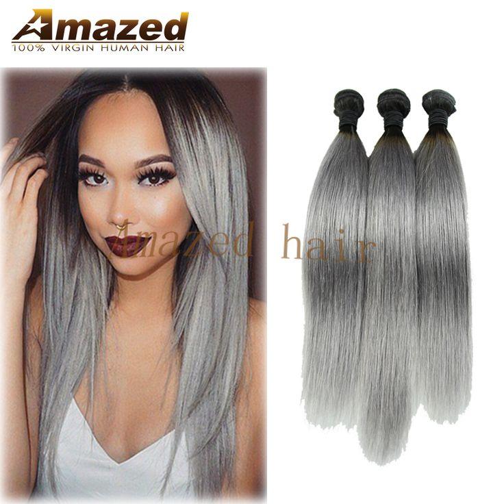 熱い販売オンブルシルバーブラジルバージンヘア3ピースオンブルグレー髪織りストレート2トーン1b/グレーオンブル7aブラジル人間の髪