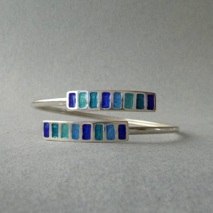 SILVER ENAMEL BRACELET/ geometric bracelet/ sterling silver/art jewelry/ multicolor bracelet/ free shipping/ gift for her/ summer bangle by OniroJewelry on Etsy