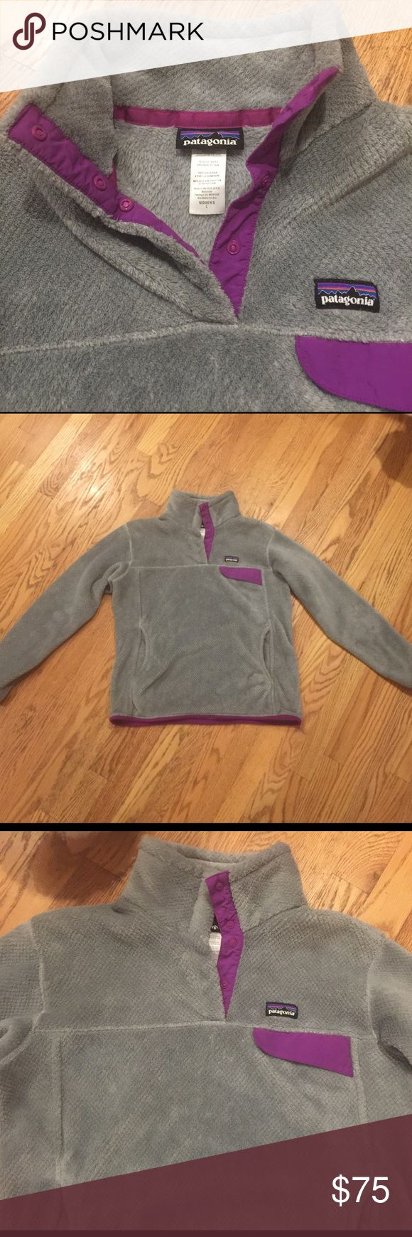 Patagonia large Retool Pullover grey w/ purple VGUC condition size large women's Patagonia Pullover retool.  This fits small for a large but is in great condition with beautiful colors Patagonia Sweaters