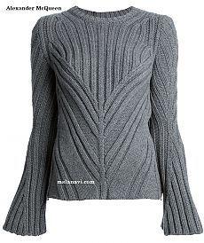 """Tejer con Lana """"jersey de moda elástica de Alexander McQueen"""