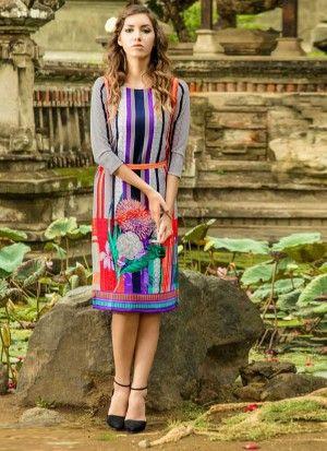 Beautiful Mannat Grey Designer Kurti