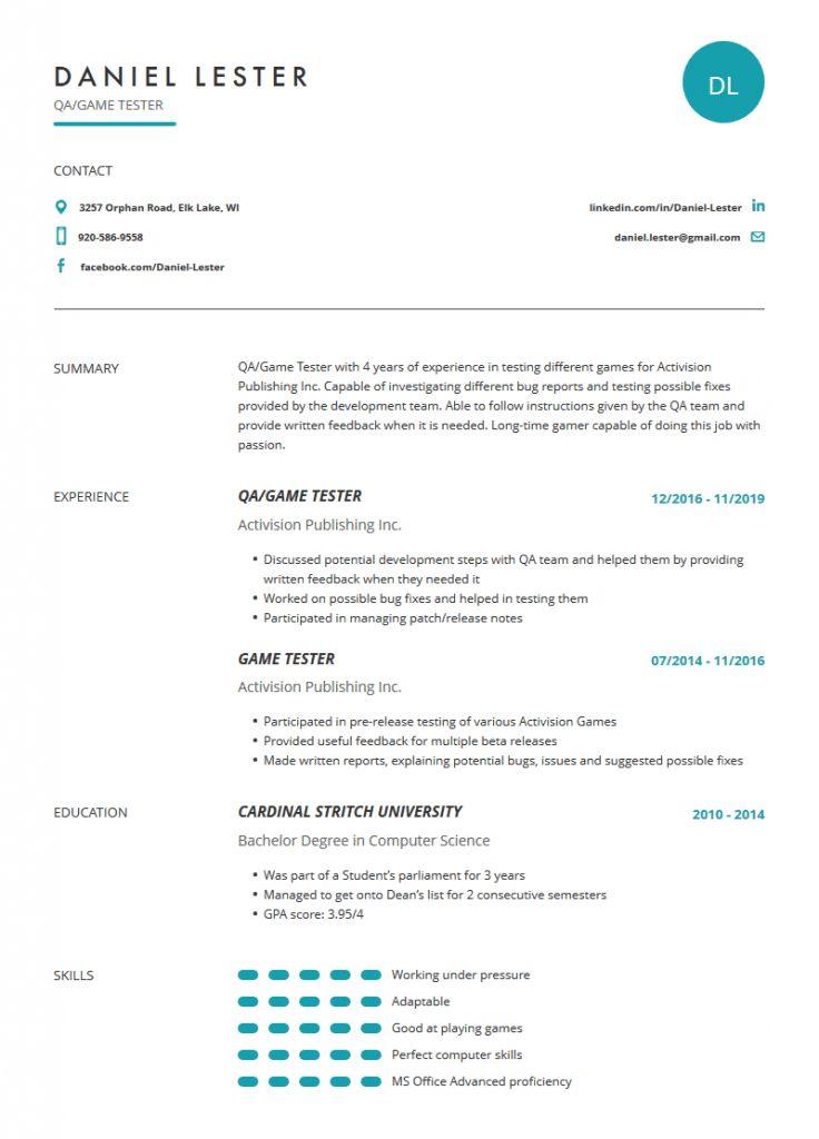 Qa Testing Resume 2021 Manual Testing Resume Lead Testing