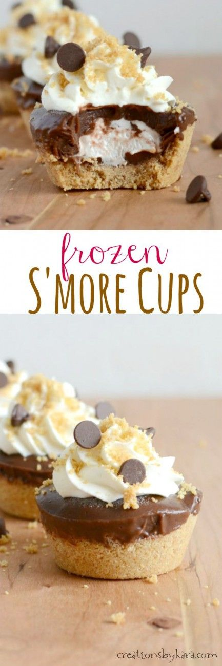 Frozen Smores Cups- a cool twist on a campfire favorite. With graham crust, marshmallow filling, and chocolate pudding, these are a refreshing summer treat!