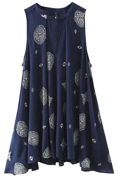 This vintage dress is crafted from cotton with V neck, sleeveless style, pleated design and loose fit. Go pair with a pair of shorts or jeans and make you fashionable and stylish.