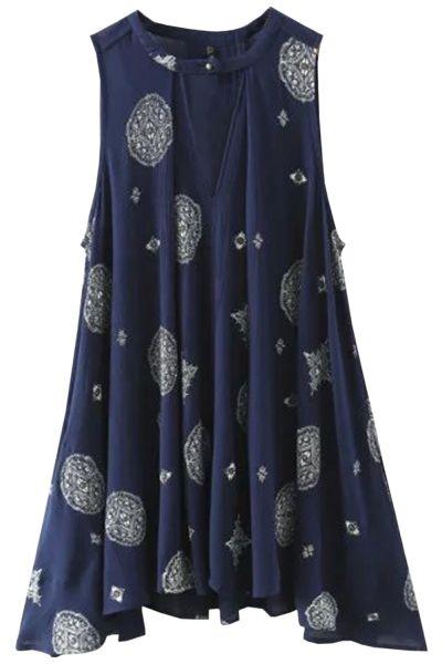 V Neck Sleeveless Print Tank Tunic Dress - AZBRO.com