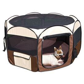 "Pop-up indoor/outdoor dog playpen with a zip on/off screen cover and roll-up doors.  Product: PlaypenConstruction Material: CanvasColor: Brown and creamFeatures:  Zip on/off screenRoll up doorsFolds flat in seconds and comes with a matching storage bag Dimensions: 28"" H x 48"" Diameter"