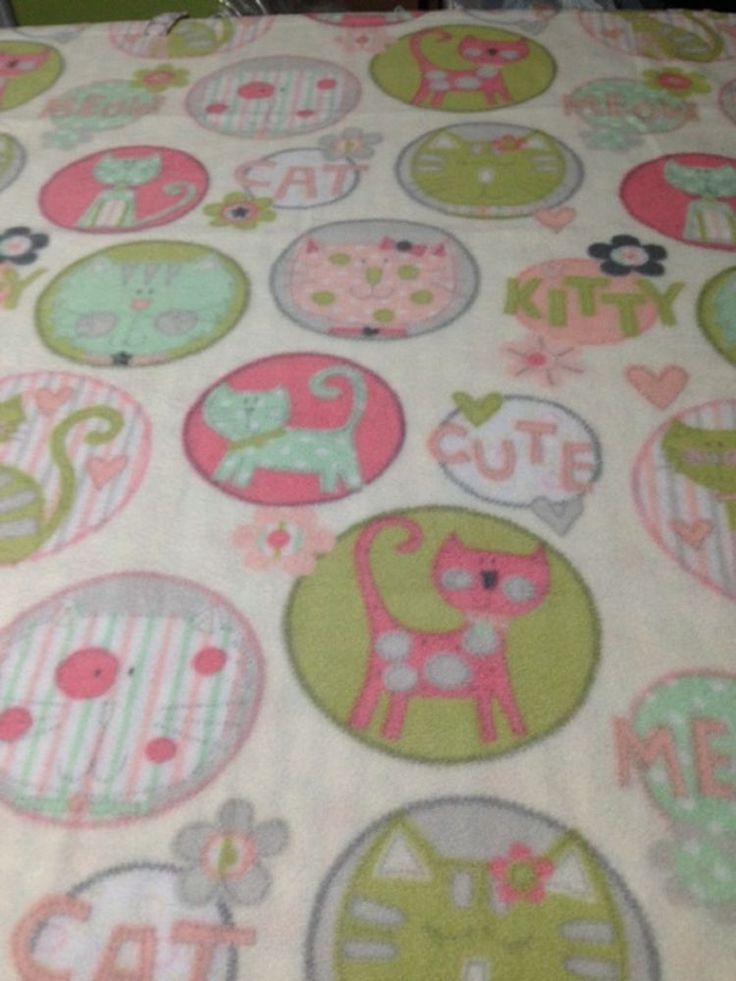 """FLEECE KNOTTED BLANKET- Cute Kitty/Cats- Toddlers/Kids 48"""" X 60"""" Throw #Handmade #Contemporary"""