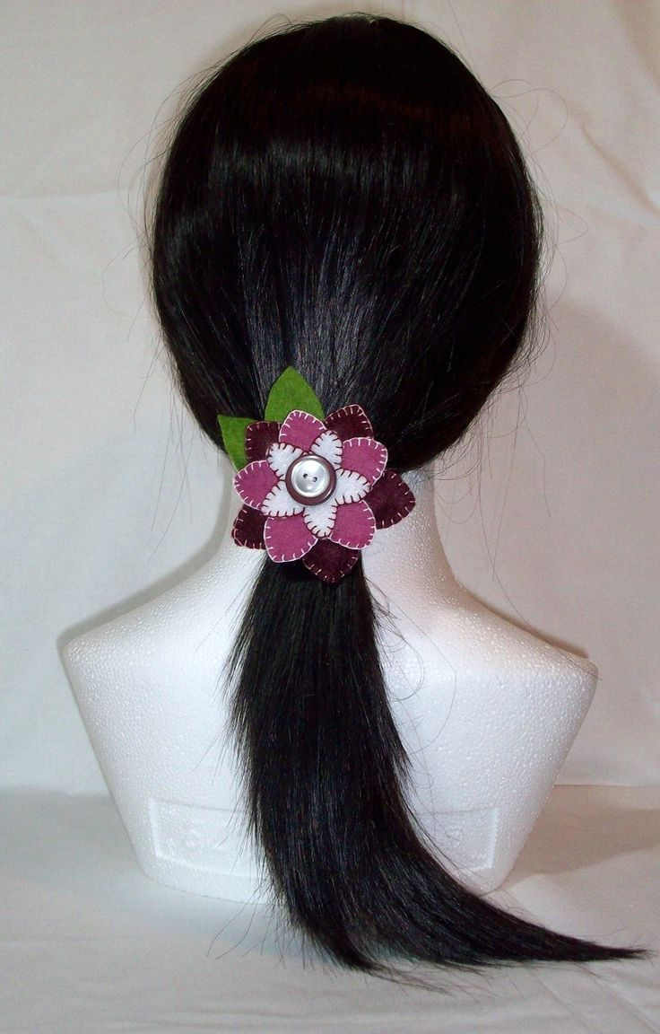 Claret / Pink / White felt flower hair bobble, hair tie, pony tail holder. One of a kind OOAK Approx: 3 inch / 7.5cm across. FREE SHIPPING