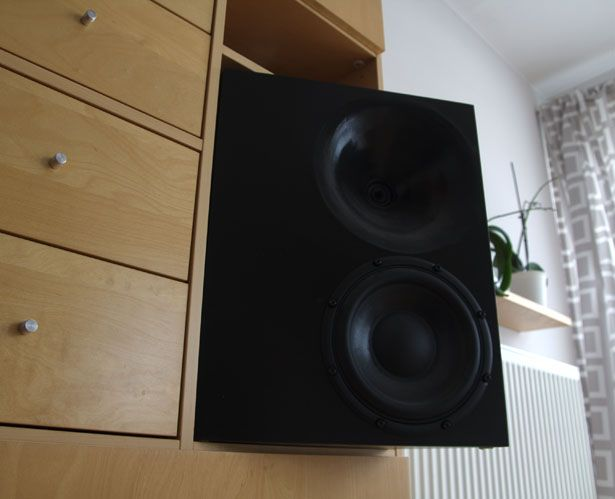 "Main loudspeakers of the Magic TRIck ver. 3. These were controlled directivity speakers with a 20"" midwoofer and a ring radiator in a waveguide. They were designed as fairly big bookshelf  loudspeakers and equalized for such a type of operation."