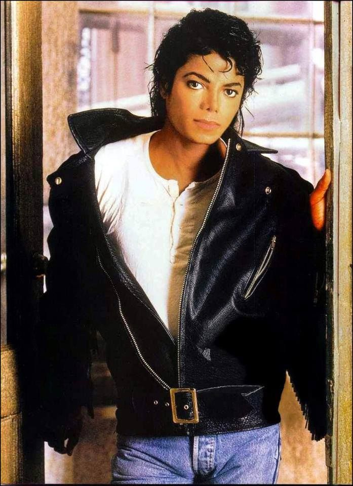 Michael Jackson and blue jeans and a black leather jacket!