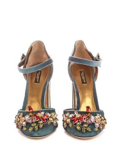Dolce & Gabbana Embellished velvet cage-heel pumps
