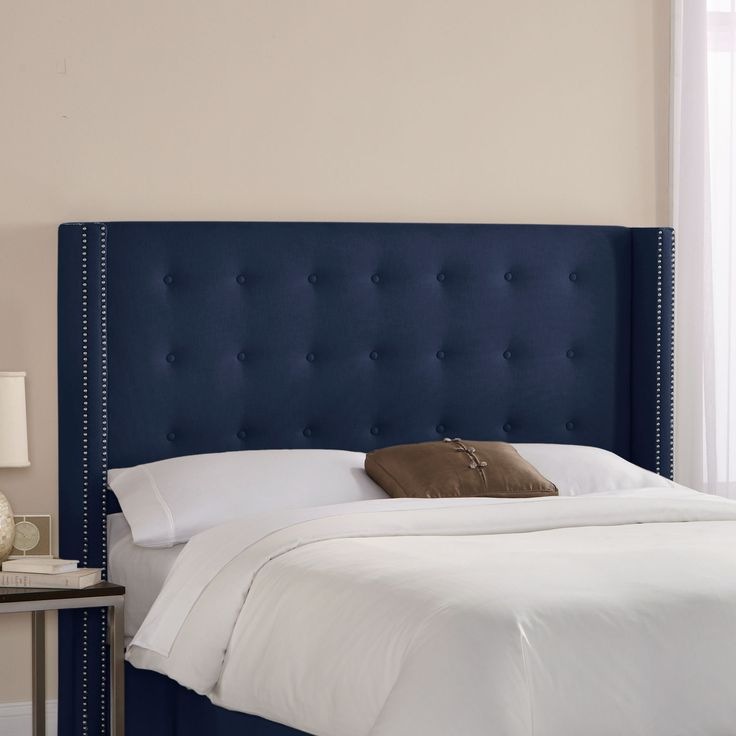 Skyline Furniture Patriot Upholstered Wingback Headboard in navy