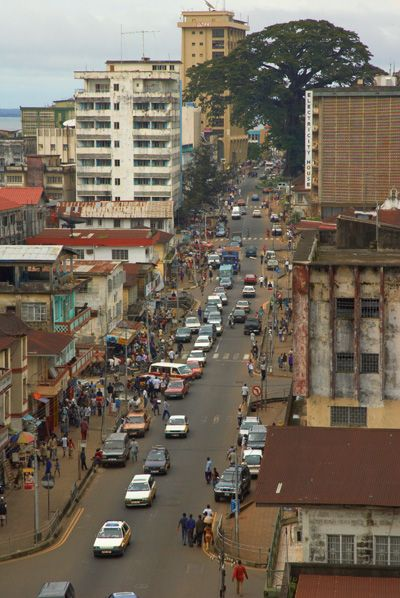 Shiaka Stevens street looking toward the cotton tree. Freetown, Sierra Leone.