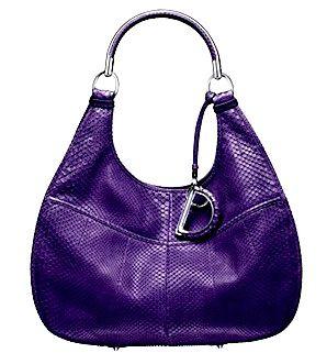 Christian Dior purple handbag with silver handle and 'D' #Dior #Purple #Bag