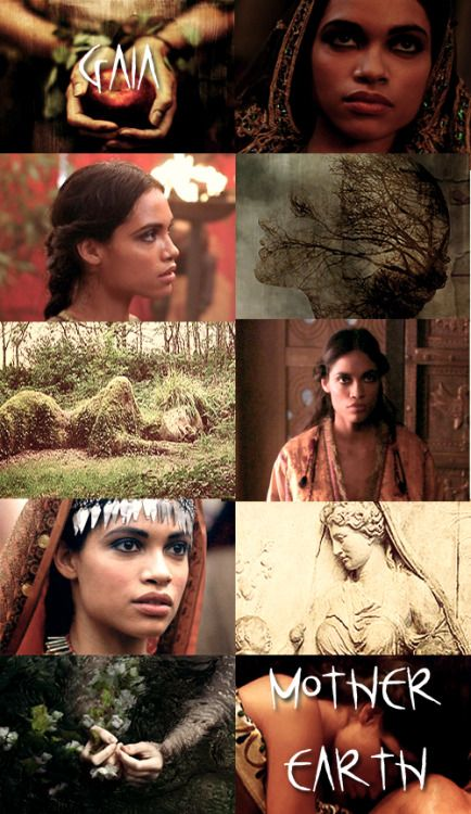 Rosario Dawson as Gaia, the personification of the Earth- mother to the Titans. Gaia was the great mother of all; the primal Greek Mother Goddess, creator and giver of birth to the Earth and all of the Universe; the heavenly gods, the Titans, and the Giants were born from her union with Uranus, while the sea-gods were born from her union with Pontus.