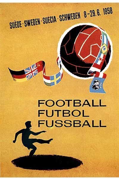 Affiche officielle de la Coupe du Monde de 1958 en Suède !