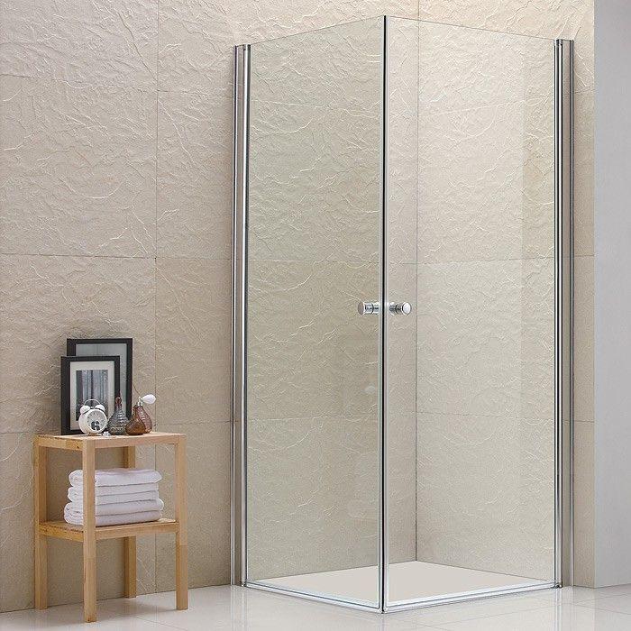 Celeste dusjhjørne 80x80 rett m/krom profil og foliert 5mm klart glass, Megaflis, 1.999kr