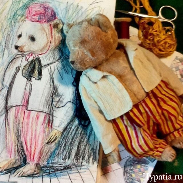Hypatia bears. Artwork and sketch, picture. Colour pencils.