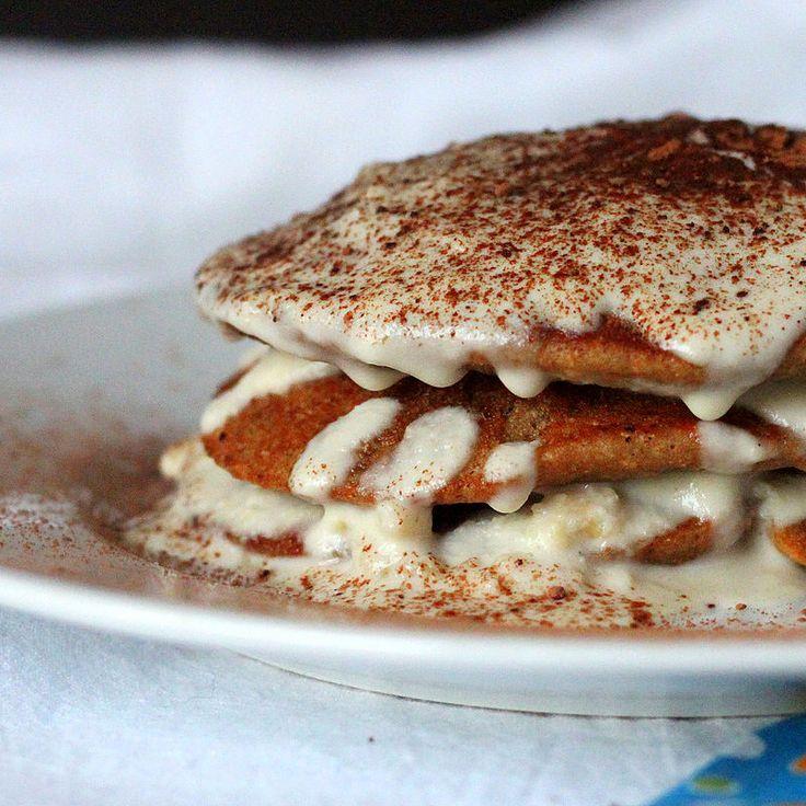Vegan Tiramisu Pancakes. Coffee Chocolate Pancakes with maple liquor drizzle and cashew cream mascarpone. Vegan Pancake Recipe. | VeganRicha.com