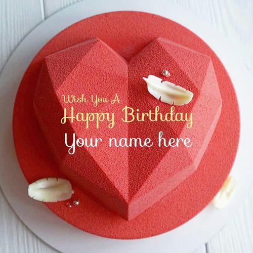 Red Velvet Heart Birthday Cake For Love With Name Birthday Cake
