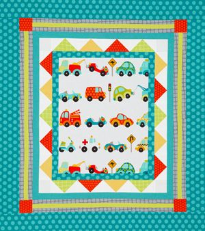 Easy to use panel or any cute kid fabric for center :)