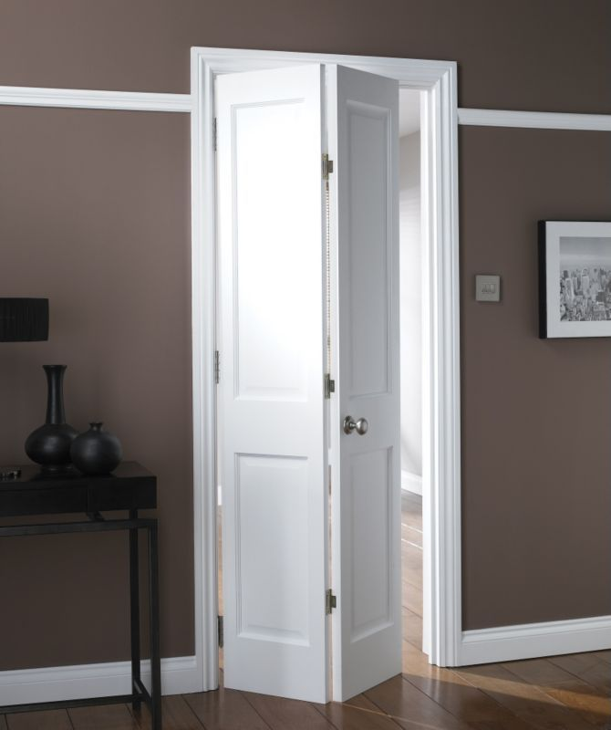 B Avesta 4 Panel Primed Bi-fold Internal Door NAT26BIAD4 White