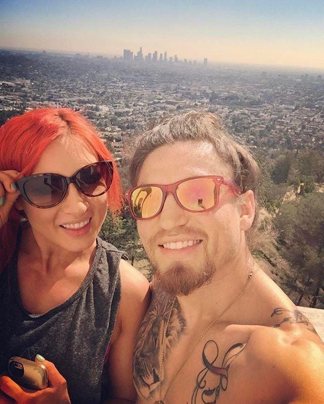 "WWE Diva Becky Lynch and her boyfriend UFC fighter Luke ""Cool Hand"" Sanders celebrating their one year anniversary #WWE #wwecouples"