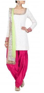 Manish Malhotra - AWPQ03MM - Ivory and red chikankari kurta set with embellished dupatta.