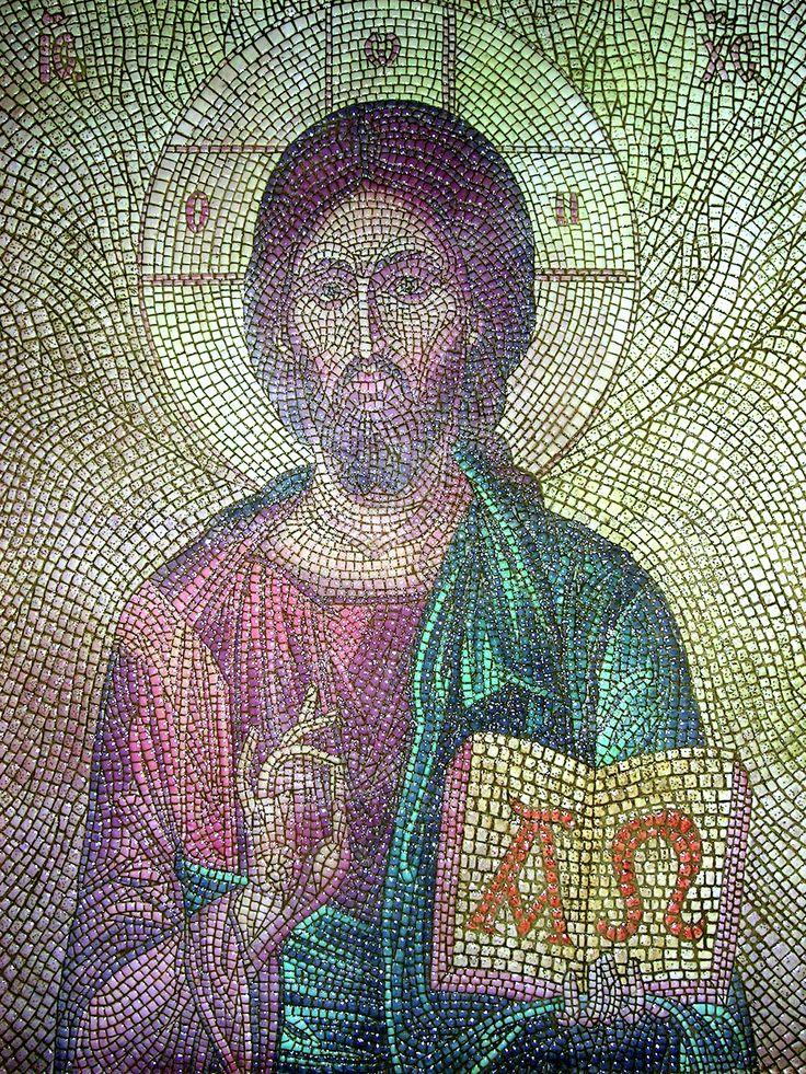 Pantocrator micro mosaico 40 x 32 cm,