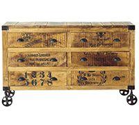 Commode vintage industriel à roulettes - Bois - 6 tiroirs pas cher